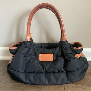 Kate Spade Black Brown Nylon Quilted Leather Purse